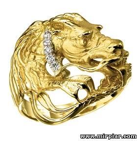 Кольцо с драконом - CharmGold магазин: серебряные и золотые украшения.