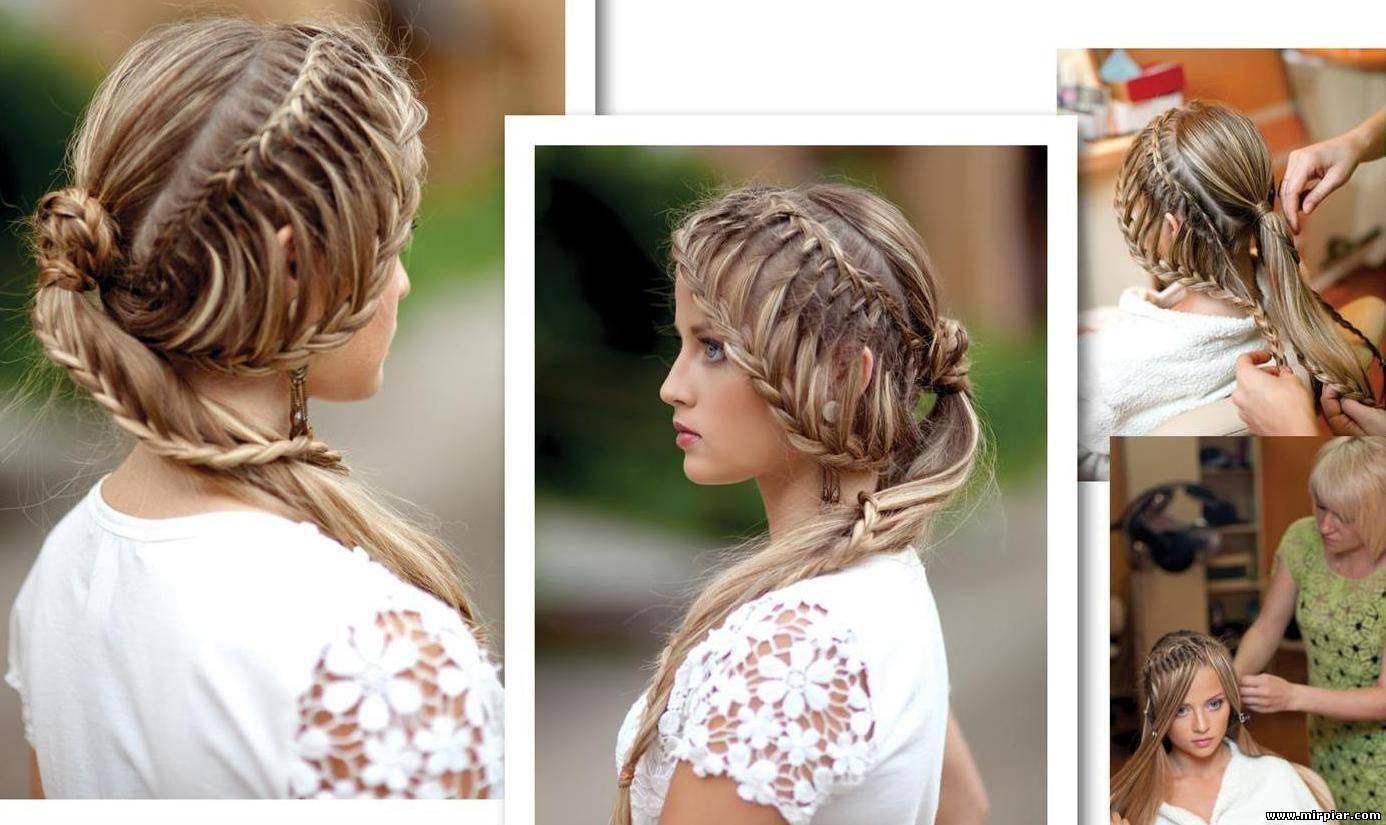Прически для средней длины волос с косами фото
