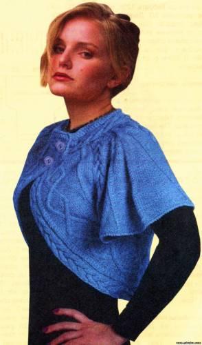 Болеро с узорами Болеро спицами вязаное Размер: 46/48 Для вязания болеро потребуется: З00 г однотонной пряжи...