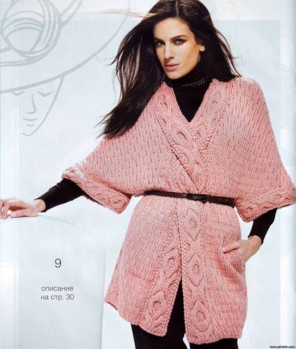 С первого взгляда сложно понять, что это: пуловер или кардиган.  Перекрученная широкая кайма с узорной косой...