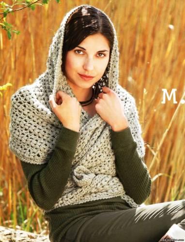 Ширина 17/49 см, длина 258 см. Шарф-капюшон.  Вязание для женщин.