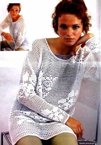филейное вязание туники.