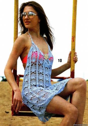 Пляжное вязаное платье, вязание, схемы, модели, крючок.