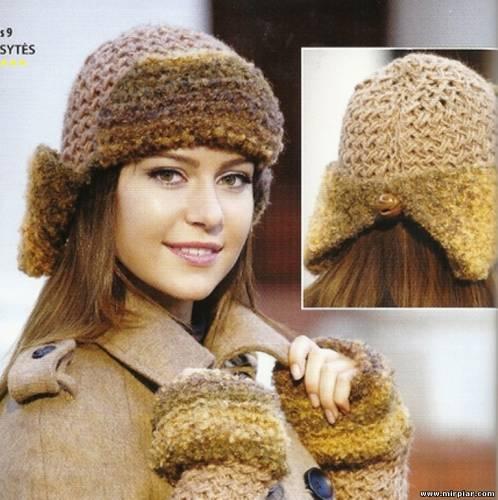 Вязаная шапка ушанка