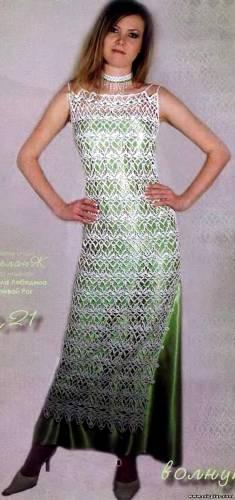 Вечернее платье крючком.  Платье 44-46 размера.  Для вязания потребуется: 700 грамм пряжи Maxi Metalik Madame Trikote...