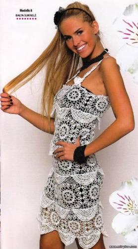 Клуб Модного трикотажа.  Ажурное вязаное платье 1.