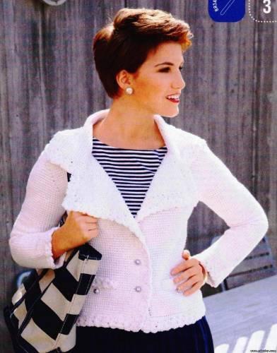 Белый вязаный жакет в стиле Шанель И тепло, и стильно!