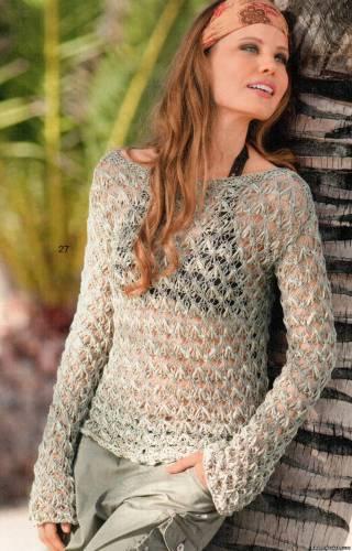 Прозрачный ажурный пуловер.