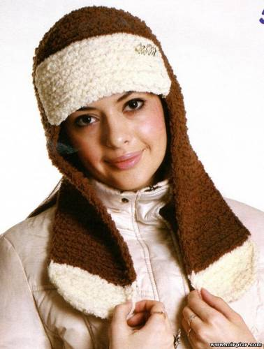Вязание спицами шапочки с ушками на 5 м - Master class.