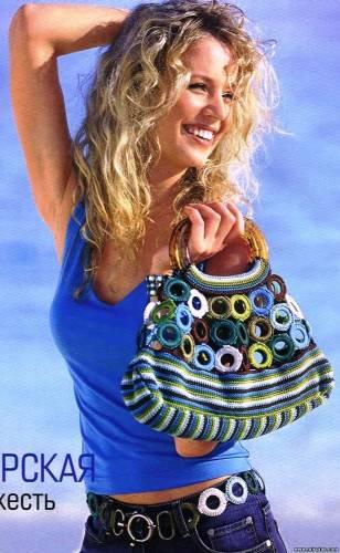 вязаный пояс и сумочка с кольцами.
