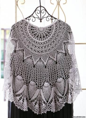 Ажурная шаль, вязание, схемы, модели.