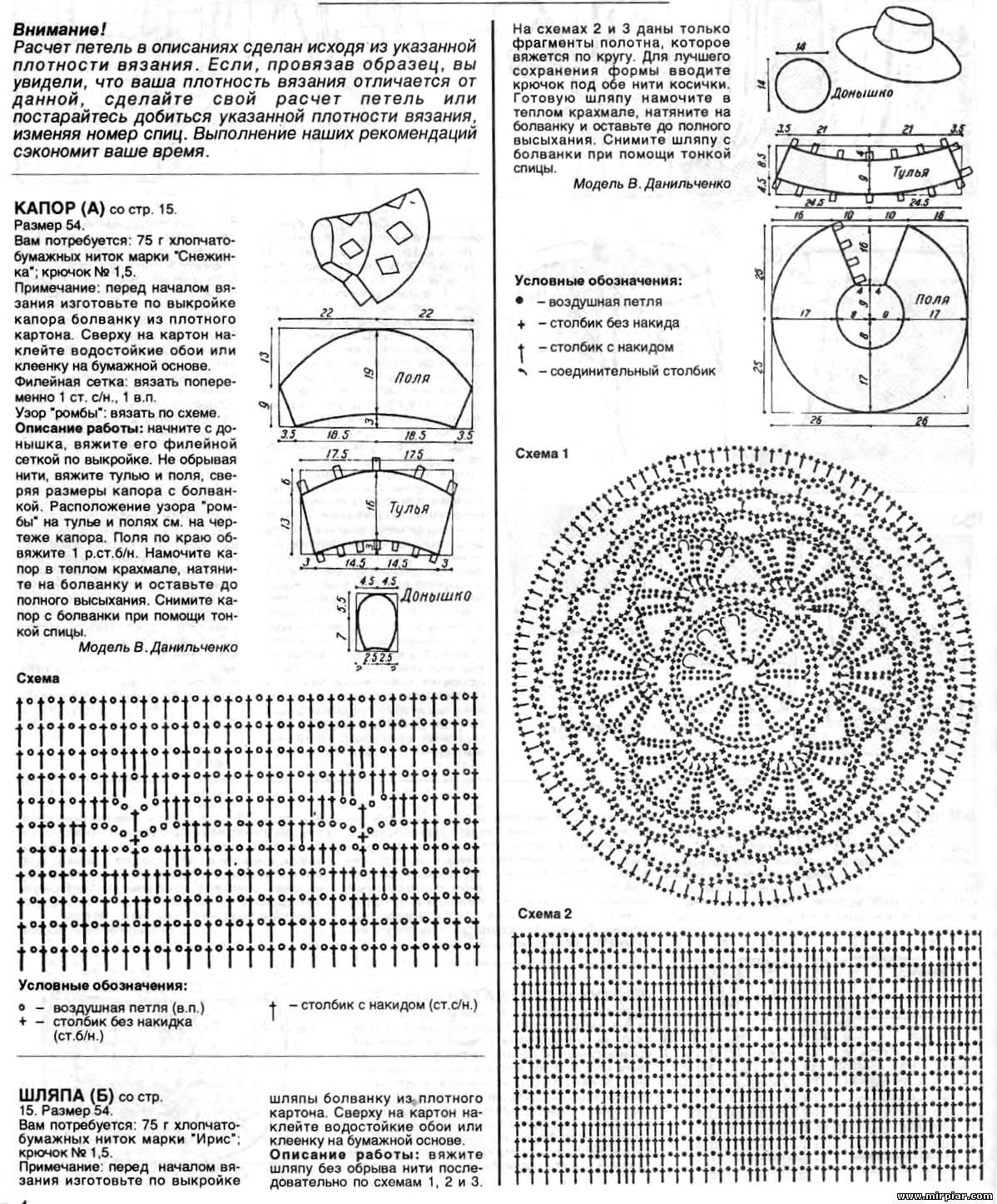 Вязание головной убор крючком схемы