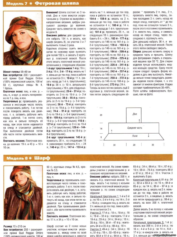 Вязание со схемами головных уборов для женщин