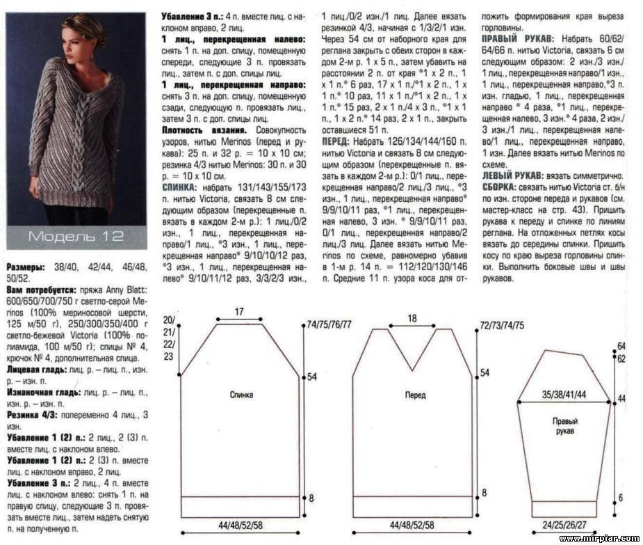 Схема вязания женской кофты с регланом 516