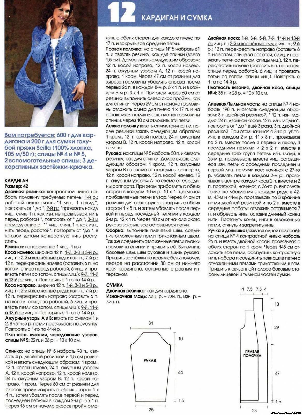 Узоры спицами схемы и описание кардиган