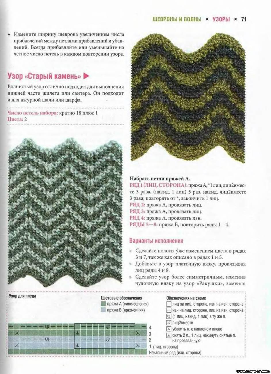 Двухцветный узор вязаный спицами петелики 4