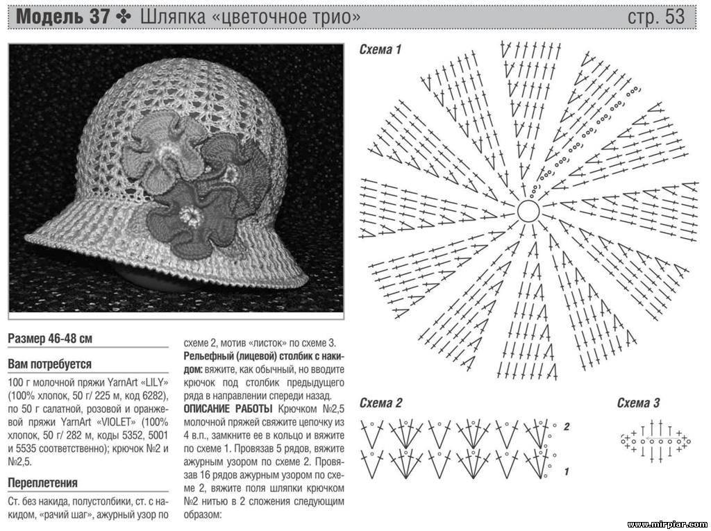 Схемы вязания крючком шляпок для девочек