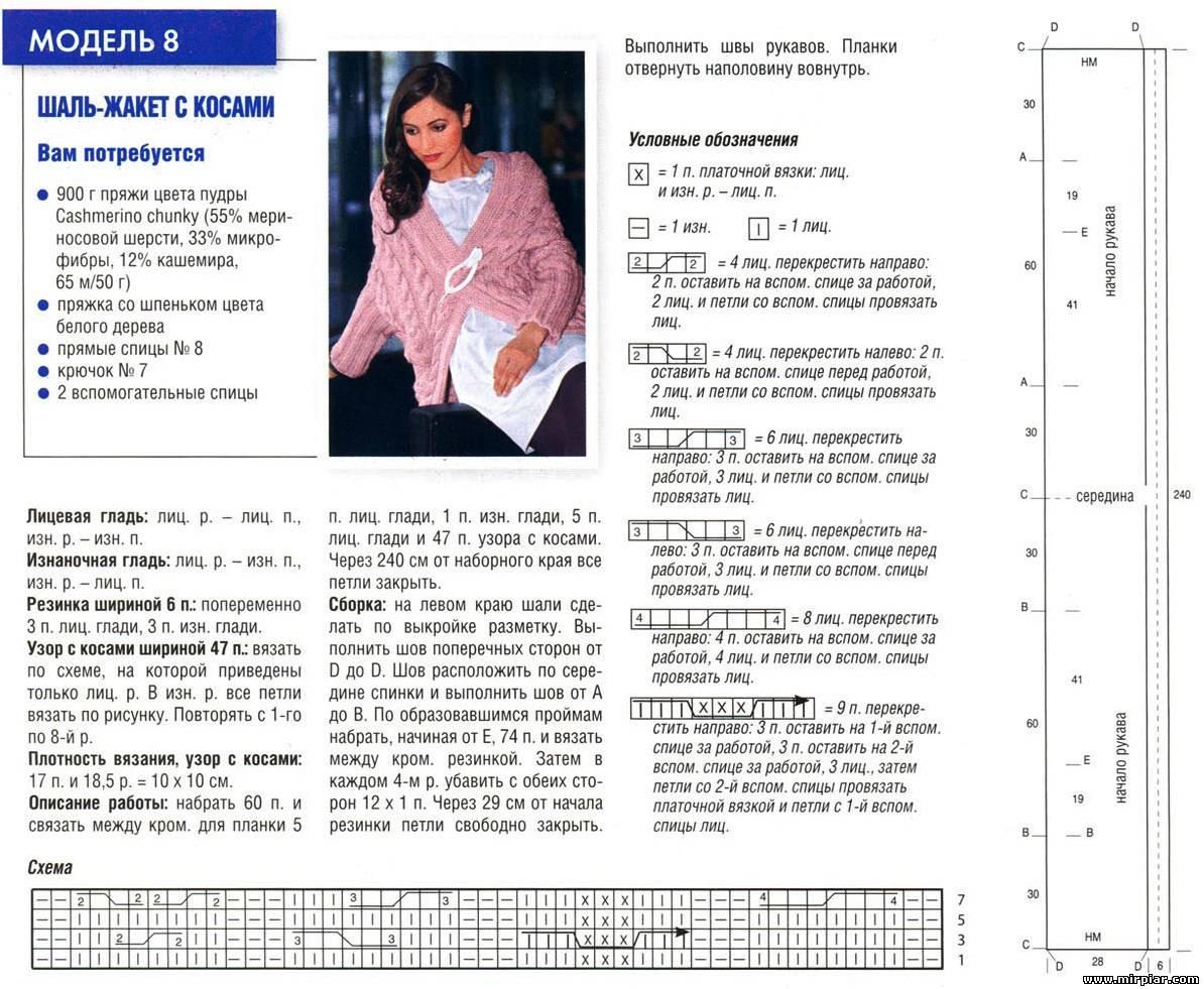 Вязание моделей спицами со схемами и описанием 22