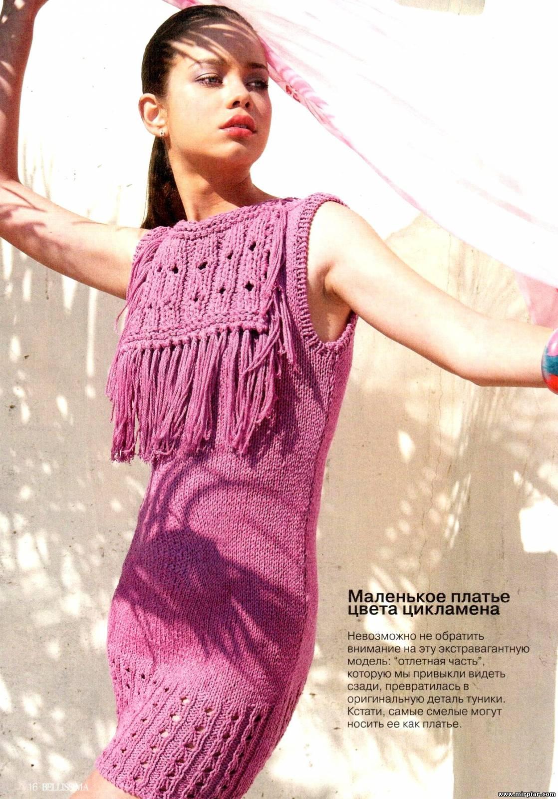 Вязание креативное спицами платье для