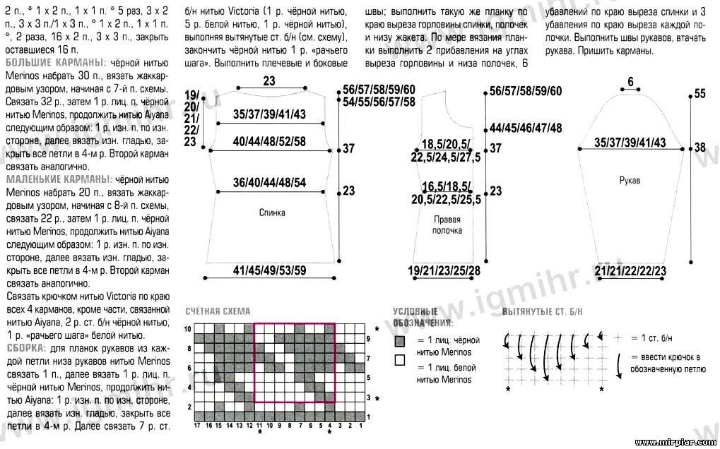 Кардиган тунисским вязанием схемы и описание 48