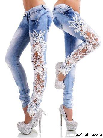 Переделка джинсов с помощью вязания