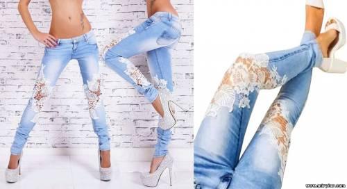 Переделка джинсов с помощью вязания 3