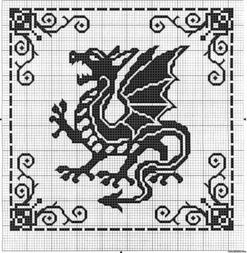 Вышивка дракона крестом.