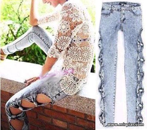 переделка, как переделать джинсы, как украсить джинсы