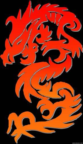трафарет дракона схема