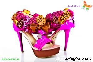 украшаем обувь цветами из ткани 4
