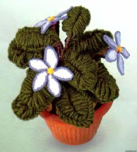 Объемные цветы из шерстяных ниток - Изготавлимаем цветы
