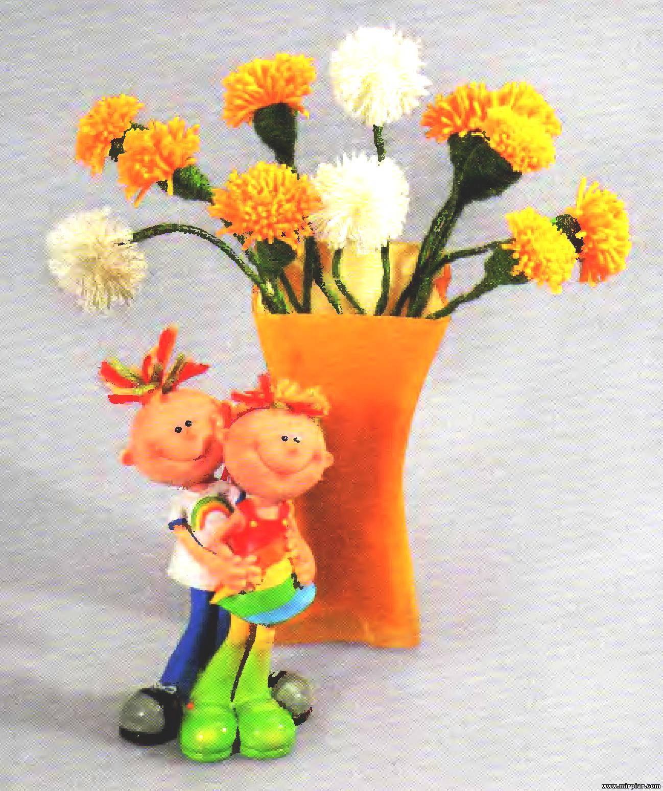 Цветы из ниток своими руками 24