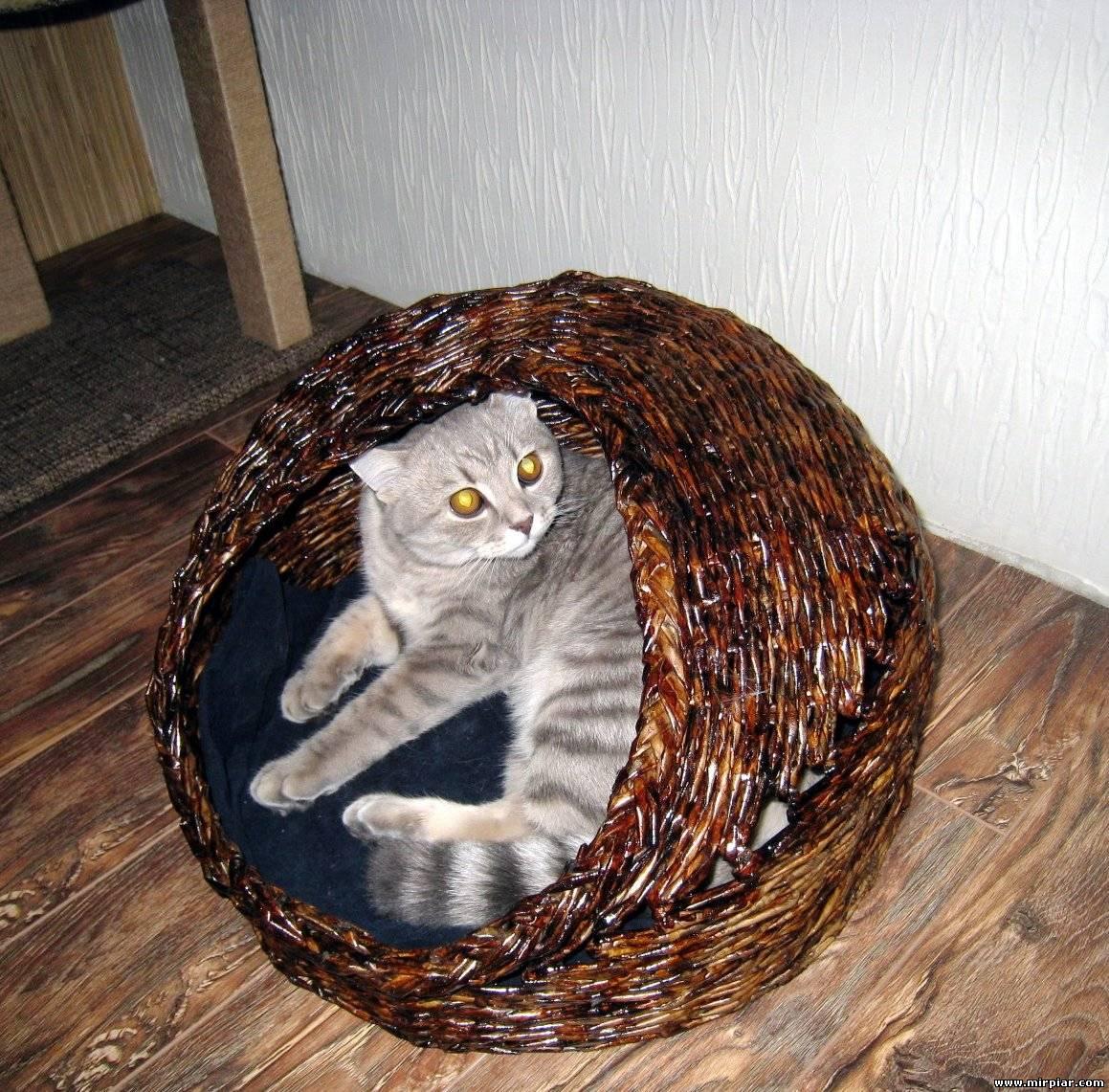 Поделки из газетных трубочек кошки