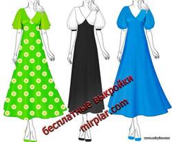 скачать бесплатные выкройки платья с рукавом фонарик или крылышком