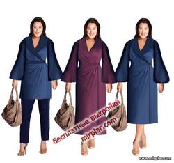 бесплатные выкройки платья и туники с запахом большого размера