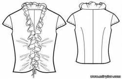 Модная блузка с воланом Выкройки бесплатно в натуральную величину