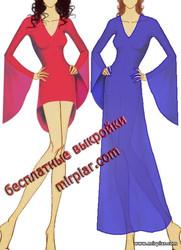free pattern, бесплатные выкройки, выкройка платья с расклешенным рукавом, pattern sewing, Dress, туника, шитье, выкройка туники, платье, рукав колокол