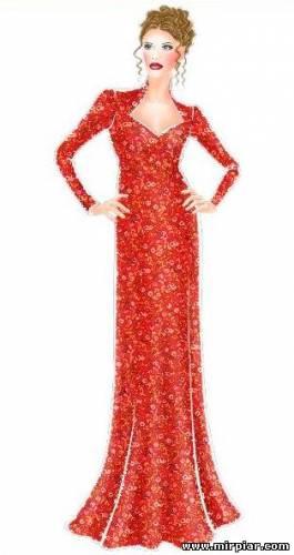 Вечернее платье с длинным рукавом 1