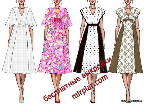 модное платье с крылышками, бесплатные выкройки, выкройка,  free pattern, выкройка туники, выкройка платья, выкройки, шитье