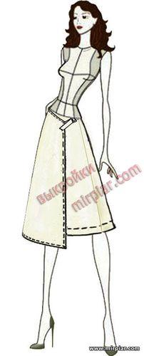 асимметричная юбка с запахом, free pattern, выкройка юбки, pattern sewing, выкройки бесплатно