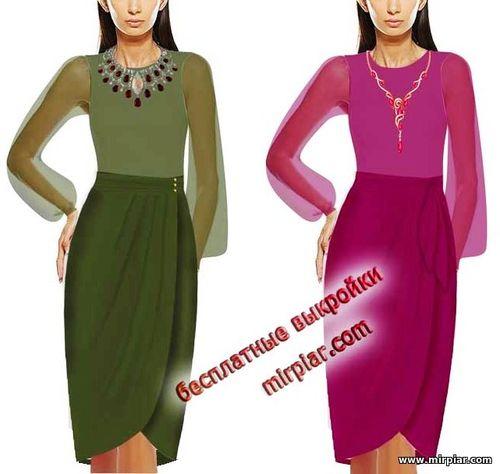 выкройка юбки с запахом, бесплатные выкройки, free pattern, pattern sewing, юбки, выкройки, шитье