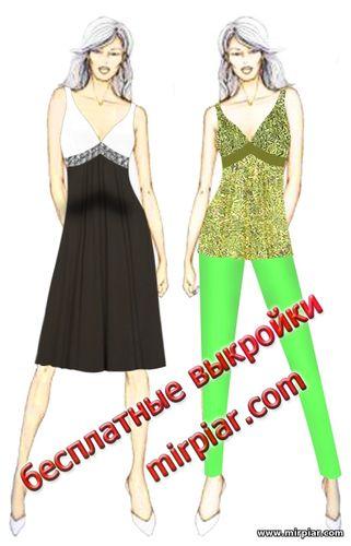 скачать бесплатные выкройки платья, сарафана или туники