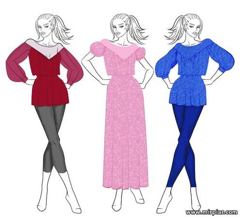free pattern, pattern sewing, выкройка туники, кокетка, туника, выкрой