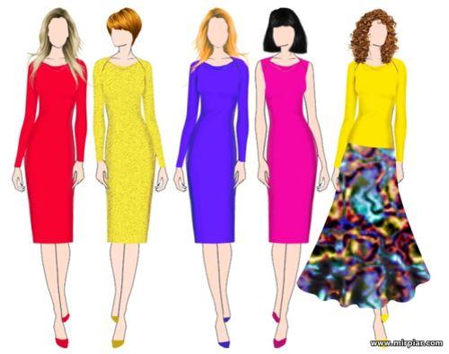 Платье-футляр с волнообразным вырезом горловины, готовые выкройки