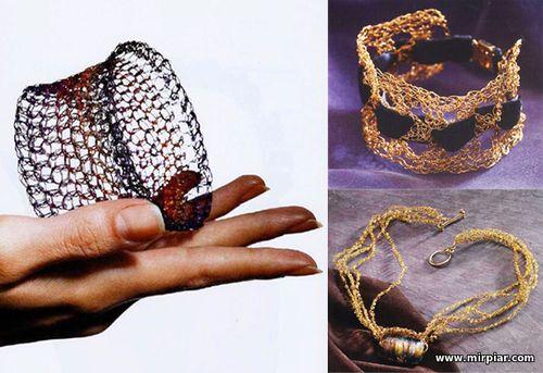 украшения своими руками, вязаные украшения, вязание из проволоки, украшения из проволоки