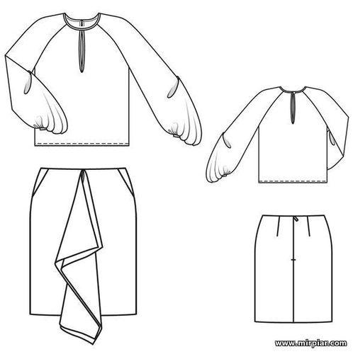 Блузка с дизайнерским рукавом и юбка Алессии Джакобино, free pattern, блузка, юбка, мода, pattern sewing, выкройка блузки, выкройка юбки, идеи дизайнеров, выкройки скачать, выкройка, шитье, выкройки бесплатно, готовые выкройки