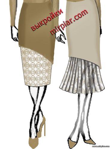 двойная юбка карандаш