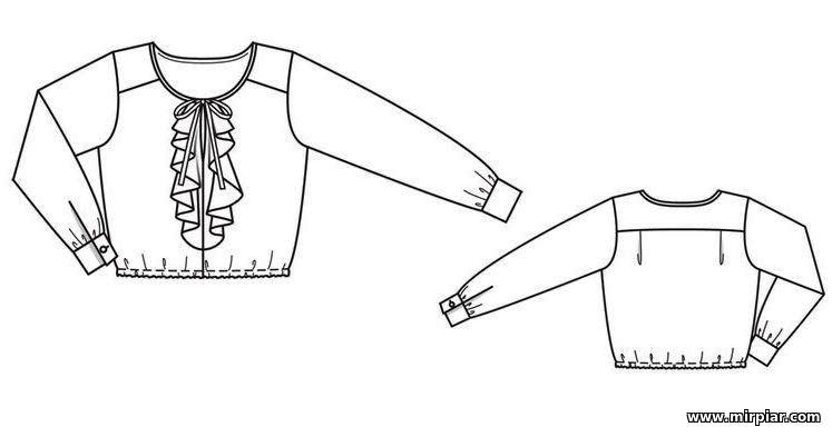 блузка с жабо, free pattern, выкройка блузки, pattern sewing, выкройки скачать, шитье, Скачать, готовые выкройки, выкройки бесплатно