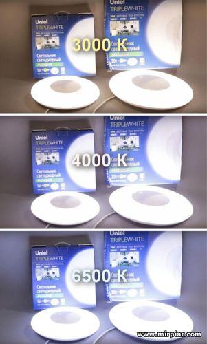 круглые накладные светодиодные светильники 3 цветовые температуры