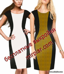 платье футляр, выкройки платьев, pattern sewing, бесплатные выкройки, free pattern, шитье, платье песочные часы